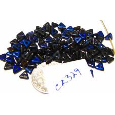 C2329 Czech Glass Tri Beads JET AZURO 4.6x1.3mm