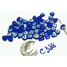 C388 Czech Glass Flat Triangle Spacer LIGHT COBALT BLUE AB 6x3mm