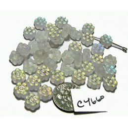 C4660 Czech Glass Flat Flower Bead CRYSTAL AB FROSTED  8mm