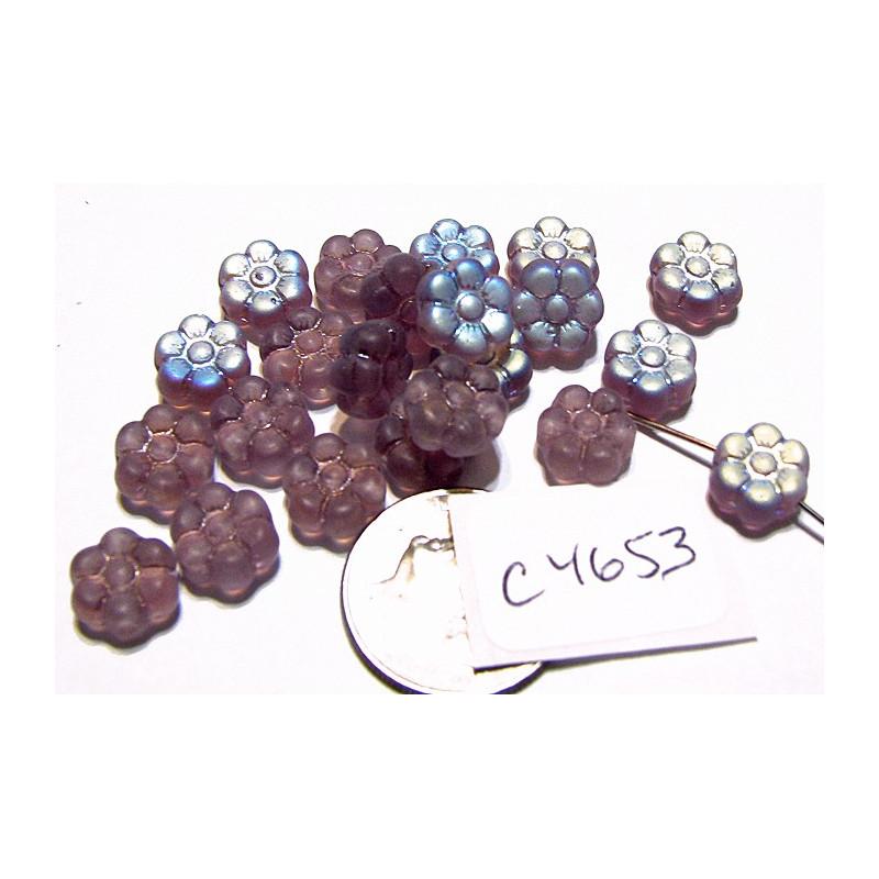 C4653 Czech Glass Flat Flower Bead AMETHYST AB FROSTED  8mm