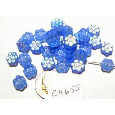 C4655 Czech Glass Flat Flower Bead LIGHT SAPPHIRE AB FROSTED  8mm
