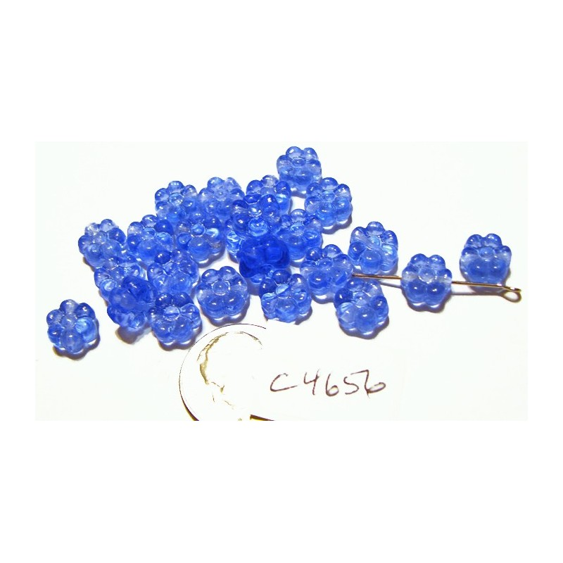 C4656 Czech Glass Flat Flower Bead LIGHT SAPPHIRE 8mm