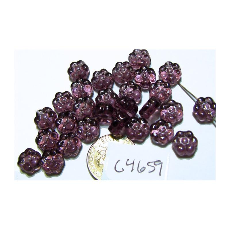 C4659 Czech Glass Flat Flower Bead AMETHYST 8mm