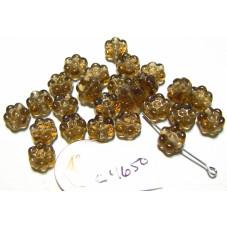 C4650 Czech Glass Flat Flower Bead SMOKED TOPAZ 8mm