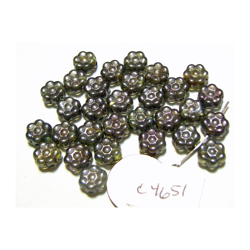 C4651 Czech Glass Flat Flower Bead LUMI GREEN 8mm