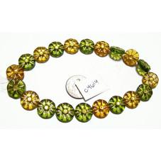 C4614 Czech Glass Coin Flower Bead AUTUMN MIX 12mm