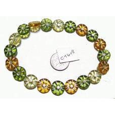 C4608 Czech Glass Coin Flower Bead LIGHT AUTUMN MIX 12mm