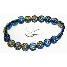 C4602 Czech Glass Coin Flower Bead BLUE MIX 12mm