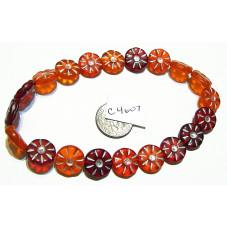 C4607 Czech Glass Coin Flower Bead RED MIX 12mm