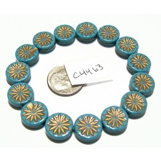 C4463 Czech Glass Aster Coin TEAL TURQUOISE w/ DARK BRONZE 12mm