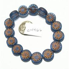 C4466 Czech Glass Aster Coin TRANS. MONTANA w/ COPPER WASH 12mm