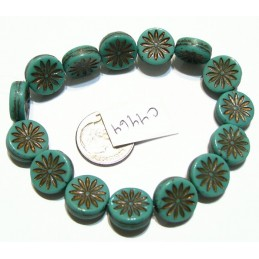 C4464 Czech Glass Aster Coin GREEN TURQUOISE w  BRONZE WASH 12mm