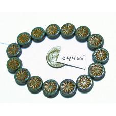 C4465 Czech Glass Aster Coin BLUE TURQUOISE w DARK BRONZE WASH 12mm