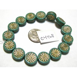 C4468 Czech Glass Aster Coin GREEN TURQUOISE w GOLD WASH 12mm