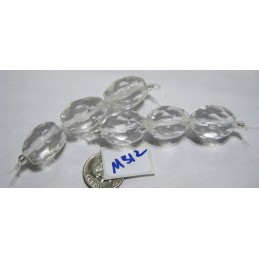 M312 Glass Bead Faceted Oval CLEAR 20x15mm