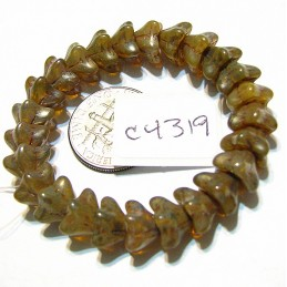 C4319 Czech Glass Bellflower Bead CHAMPAGNE w/ PICASSO  5x8mm