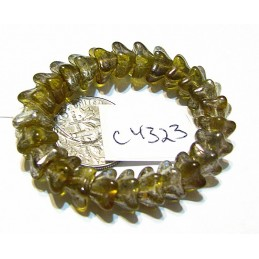 C4323 Czech Glass Bellflower Bead PALE OLIVE w/ MERCURY FINISH  5x8mm