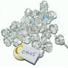 C4105  Czech Glass Trillium 3 Petal Flower Bead CRYSTAL 9mm