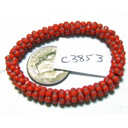 C3853 Czech Glass Forget Me Not Spacer Bead SCARLET RED w/ SILVER  5mm