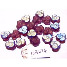 C3676  Czech Glass Trillium 3 Petal Flower Bead FROSTED AMETHYST AB 9mm