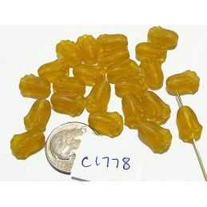 C1778 Czech Glass Tulip Bead  TOPAZ FROST  12mm