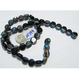 M349 Glass Hand Faceted Flat Round BLACK AB  10mm