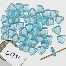C1781 Czech Glass Petal Drop Bead LIGHT AQUAMARINE  8mm