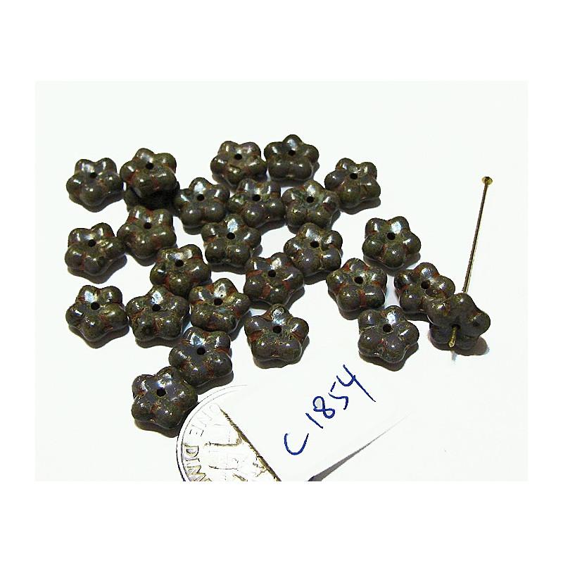 C1854 Czech Glass Daisy Bead PURPLE / HEAVY TRAVERTINE  8.3x5mm