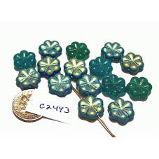 C2443 Czech Glass Flat Flower Bead BLUE / GREEN AB  12mm