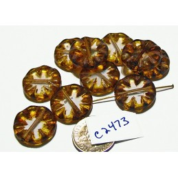 C2473 Czech Glass Flower Bead CRYSTAL BROWN YELLOW PICASSO 18mm