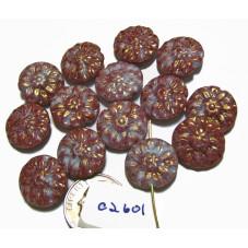 C2601 Czech Glass Carved Dahlia Flower Coin Bead PURPLE w/ BLUE 14mm