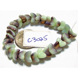 C3025 Czech Glass Bellflower Bead CELADON GREEN & COPPER 7mm