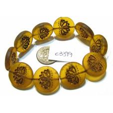 C3399 Czech Glass Coin Lotus Bead MATTE BRONZED AMBER 18mm