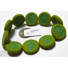 C3396 Czech Glass Coin Lotus Bead MATTE AVACADO w/ TURQUOISE WASH 18mm