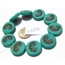 C3398 Czech Glass Coin Lotus Bead MATTE BRONZED TEAL 18mm