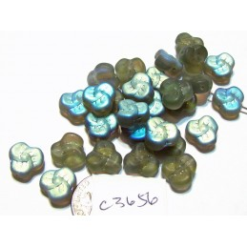 C3656  Czech Glass Trillium 3 Petal Flower Bead FROSTED BLACK DIAMOND AB 9mm
