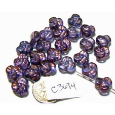 C3674  Czech Glass Trillium 3 Petal Flower Bead LUMI AMETHYST  9mm