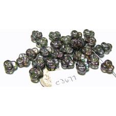 C3677  Czech Glass Trillium 3 Petal Flower Bead LUMI GREEN  9mm
