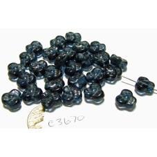 C3670  Czech Glass Trillium 3 Petal Flower Bead MONTANA  9mm