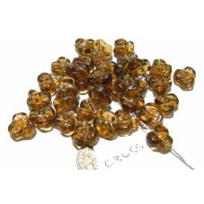 C3658  Czech Glass Trillium 3 Petal Flower Bead SMOKED TOPAZ  9mm
