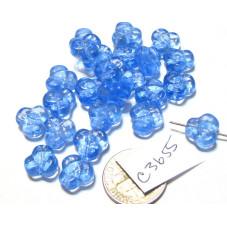 C3655 Czech Glass Trillium 3 Petal Flower Bead LIGHT SAPPHIRE  9mm