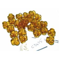 C3675 Czech Glass Trillium 3 Petal Flower Bead TOPAZ  9mm