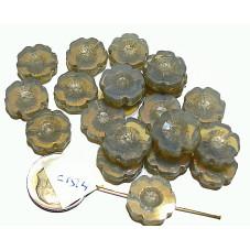 C1514 Czech Glass Hawaiian Flower Bead MILKY GREY 14mm