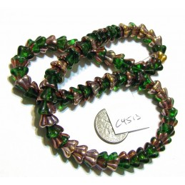 C4513 Czech Glass Bellflower Bead GREEN w/ METALLIC  8x6mm