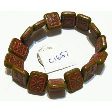 C1687 Czech Ornamental Rectangle Bead MOSS W/PINK 11x12mm