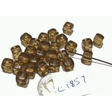 C1857 Czech Glass Cube SMOKED TOPAZ 5x7mm