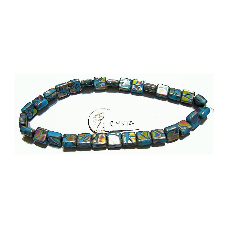 C4512 Czech Glass Square Tile Bead BLUE w/ MULTI COLOR, MULTI PATTERN  9mm
