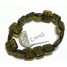 C4003 Czech Ornamental Rectangle Bead PERIDOT w/ BROWN  WASH 11x12mm
