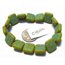 C4002 Czech Ornamental Rectangle Bead LEMON YELLOW w/ TURQUOISE WASH 11x12mm