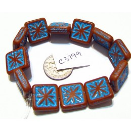C3799 Czech Glass Tile Compass Bead  BROWN/BLUE MATTE 14mm